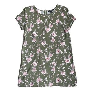 Forever 21 green floral dress with pink flowers